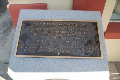 Textile Memorial Plaque image. Click for full size.