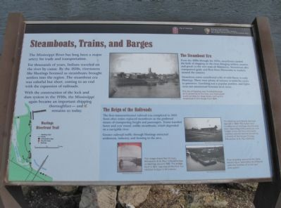 Steamboats, Trains, and Barges Marker image. Click for full size.