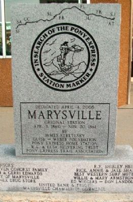 Marysville Marker (front) image. Click for full size.