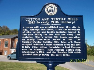 Cotton and Textile Mills Marker image. Click for full size.