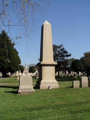 Marker in Newport's Island Cemetery image. Click for full size.