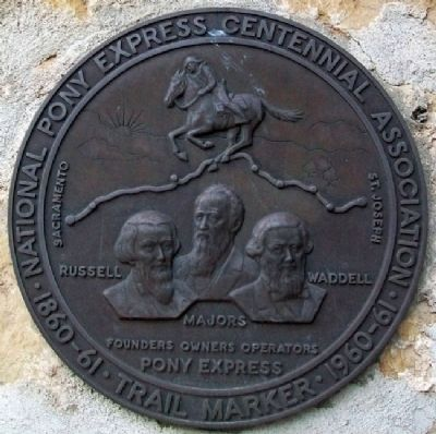 Pony Express Founders Marker at Home Station No. 1 image. Click for full size.