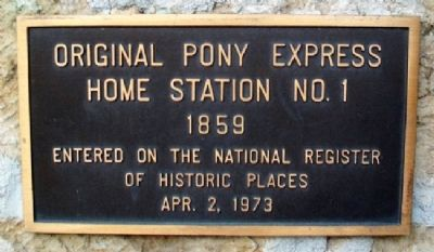 Pony Express Home Station No. 1 NRHP Marker image. Click for full size.