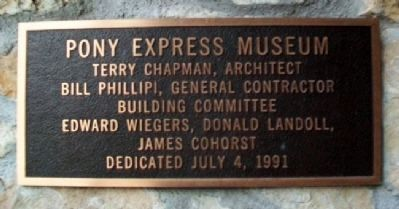 Pony Express Home Station No. 1 Museum Marker image. Click for full size.
