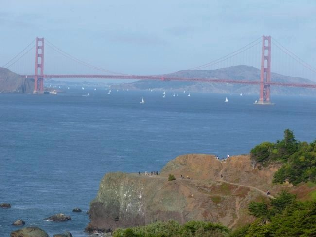 View from the Lands End Trail, across South Bay toward the Golden Gate Bridge image. Click for full size.