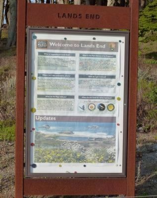 """Lands End"" signage (Golden Gate Park Conservancy) near the marker and visitor center image. Click for full size."