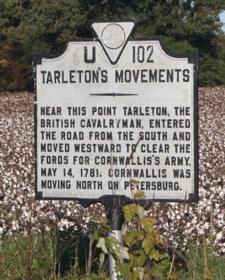 Tarleton's Movements Marker image. Click for full size.