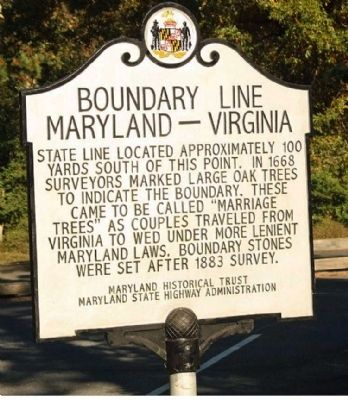 Boundary Line Maryland - Virginia Marker image. Click for full size.