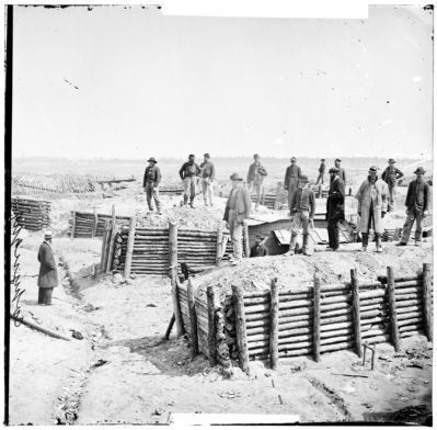 "Petersburg, Va. Breastworks of the Confederate Fort Mahone (""Fort Damnation"") image. Click for full size."