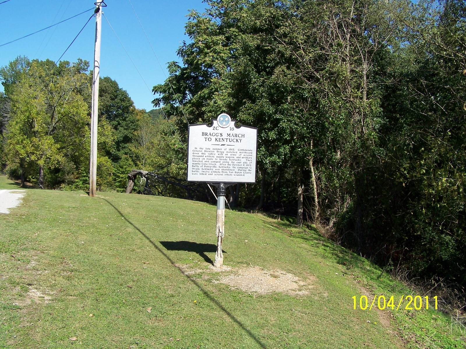 Bragg's March to Kentucky Marker