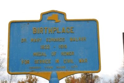 Birthplace Dr. Mary Edwards Walker Marker image. Click for full size.