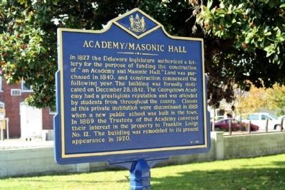 Academy / Masonic Hall Marker, new color scheme in 2011 image. Click for full size.