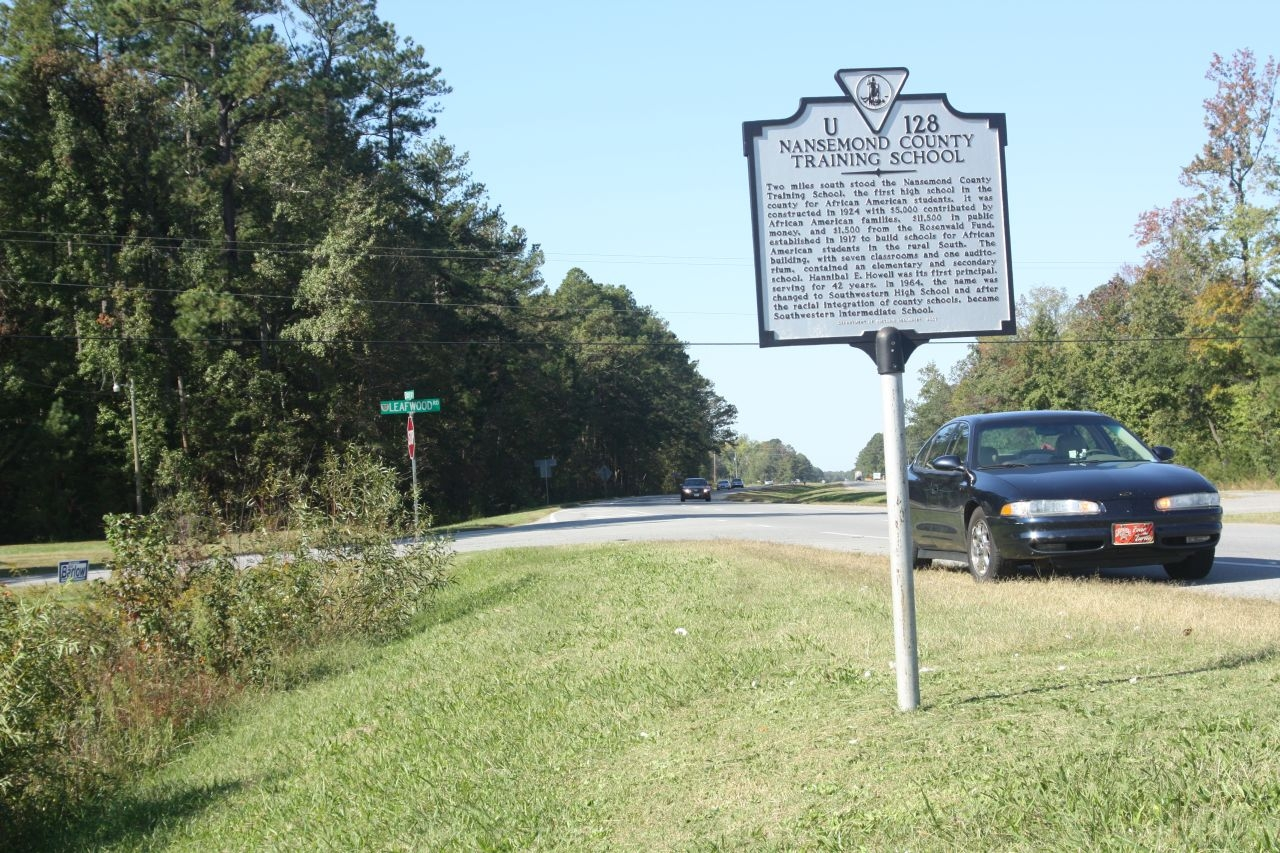 Nansemond County Training School Marker, along eastbound US 58 at Leafwood Road
