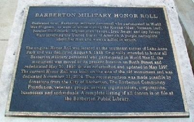 Barberton Military Honor Roll Marker image. Click for full size.
