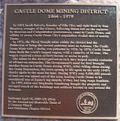 Castle Dome Mining District Marker image. Click for full size.