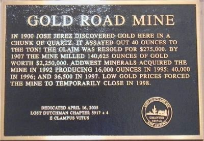 Gold Road Mine Marker image. Click for full size.