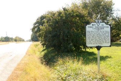 Three Northampton Landmarks Marker, looking southbound along Charles M Lankford Jr. Memorial Highway image. Click for full size.