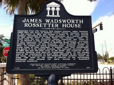James Wadswsorth Rossetter House Marker image. Click for full size.