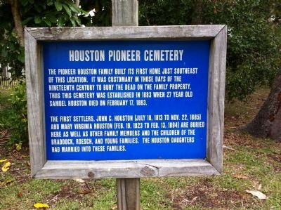Houston Pioneer Cemetery Marker image. Click for full size.