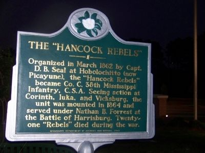 "The ""Hancock Rebels"" Marker image. Click for full size."