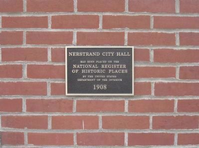Nerstrand City Hall Plaque image. Click for full size.