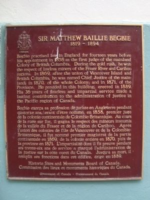 Sir Matthew Baillie Begbie Marker image. Click for full size.