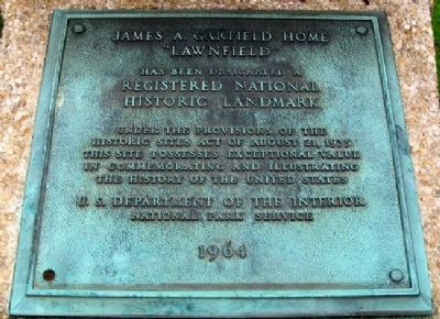 "James A. Garfield's ""Lawnfield"" NHL Marker image. Click for full size."