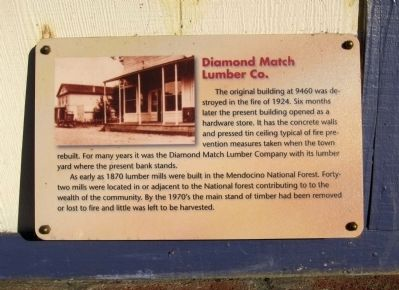 Diamond Match Lumber Co. Marker image. Click for full size.