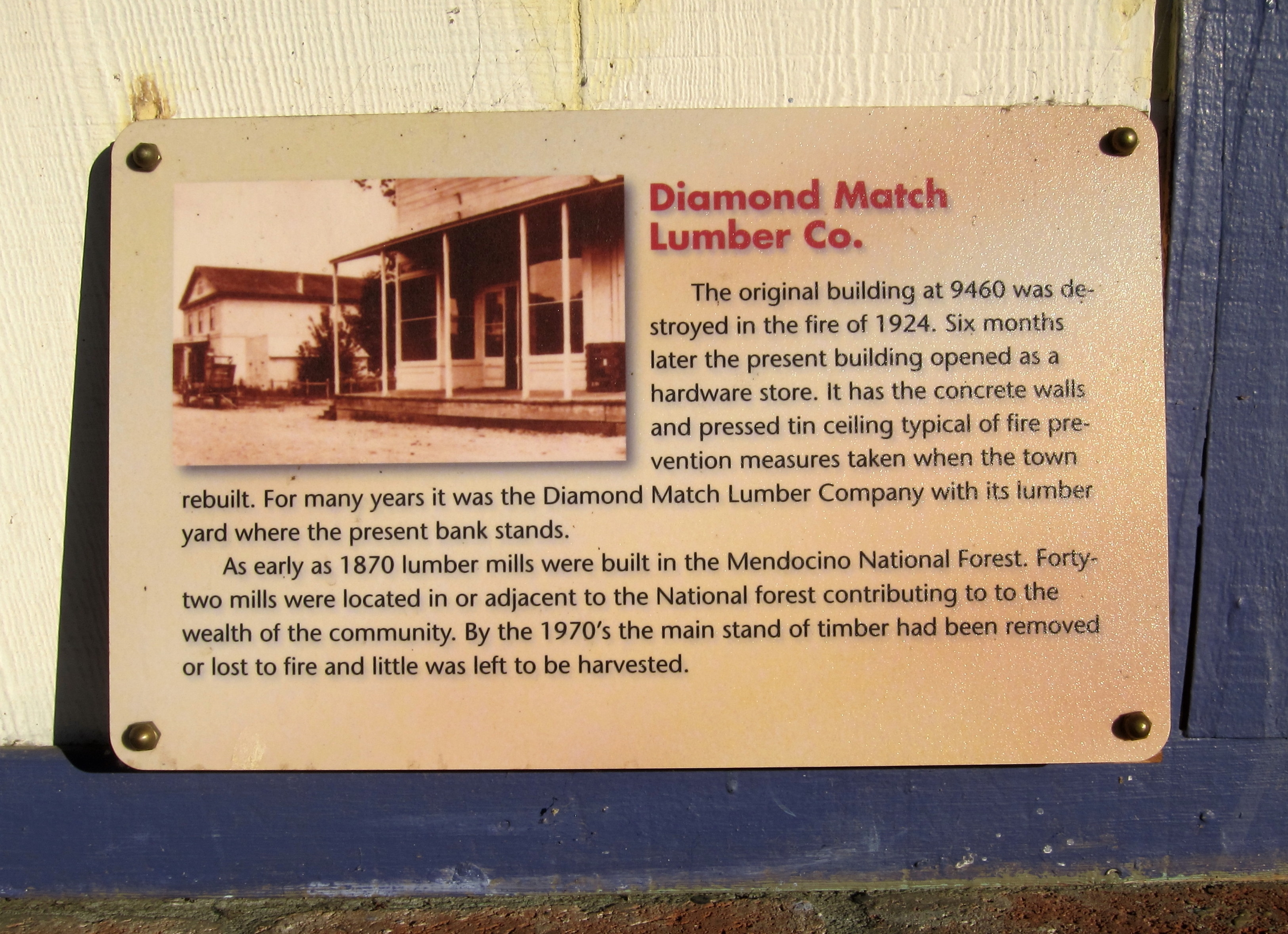 Diamond Match Lumber Co. Marker