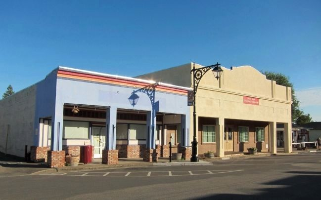 Former Diamond Match Lumber Co. building (L) and North Shore Christian Fellowship Building (R) image. Click for full size.