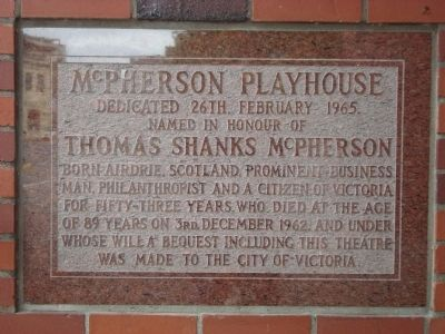 McPherson Playhouse Marker image. Click for full size.