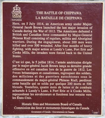 The Battle of Chippawa Marker image. Click for full size.