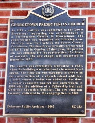 Georgetown Presbyterian Church Marker image. Click for full size.