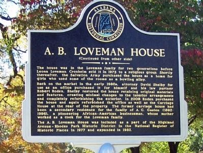 A.B. Loveman House Marker (side B) image. Click for full size.