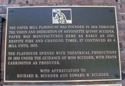 Paper Mill Playhouse Marker image. Click for full size.