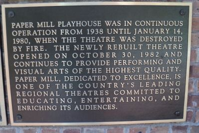 Third Paper Mill Playhouse Marker image. Click for full size.