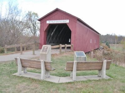 Zumbrota Covered Bridge and Markers image. Click for full size.