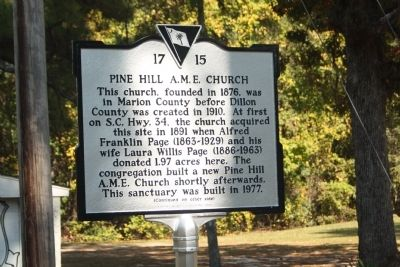Pine Hill A.M.E. Church Marker image. Click for full size.