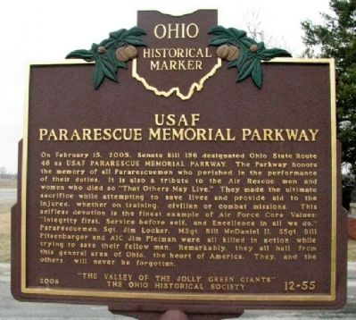 USAF Pararescue Memorial Parkway Marker Front image. Click for full size.