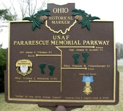 USAF Pararescue Memorial Parkway Marker Rear image. Click for full size.
