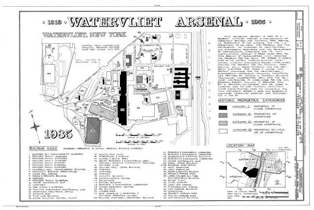 Watervliet Arsenal Map - 1985 image. Click for full size.