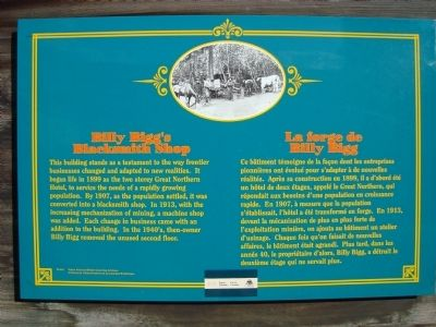 Billy Bigg's Blacksmith Shop Marker image. Click for full size.