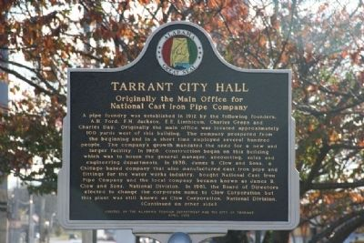 Tarrant City Hall Marker (Front) image. Click for full size.
