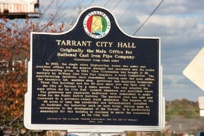 Tarrant City Hall Marker (Reverse) image. Click for full size.