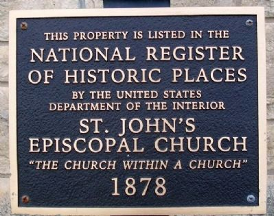 St. John's Episcopal Church NRHP Marker image. Click for full size.