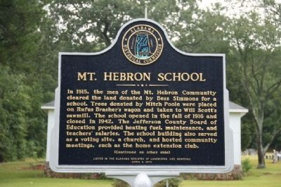 Mt. Hebron School Marker (Front) image. Click for full size.