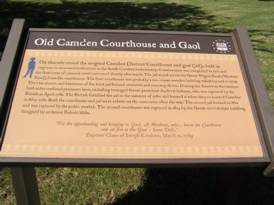 Old Camden Courthouse and Gaol Marker image. Click for full size.