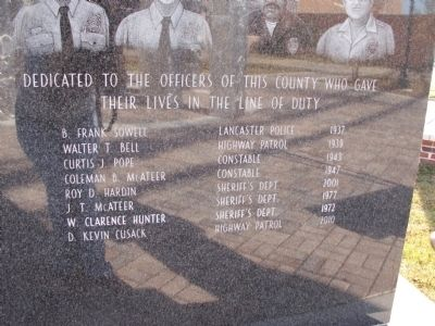 Lancaster County Law Enforcement Officers Memorial Marker image. Click for full size.