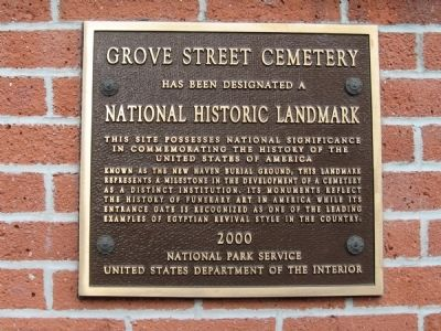 Grove Street Cemetery Marker image. Click for full size.