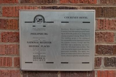Courtney Hotel Marker image. Click for full size.